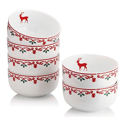 DOWAN 10-Ounce Christmas Porcelain Bowl Set - 6 PacksWhite