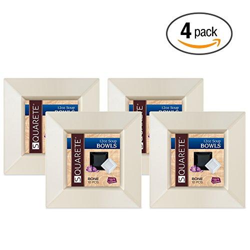 Squarete 12 ounce Square Bone Soup Bowlsl Heavy Duty Elegant Disposable 12 oz Square Ivory Party Soup Bowls 10 Bowls Per Package Pack of 4