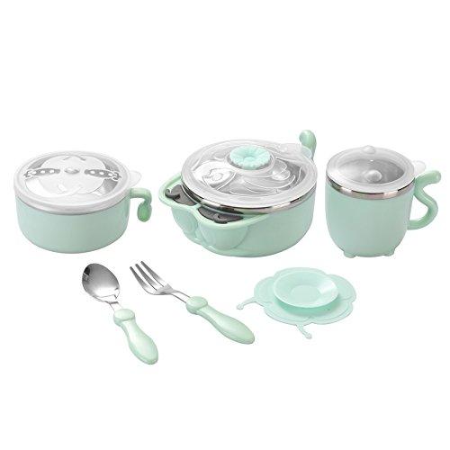 Xing Lin Kids Dinner Set ChildrenS Tableware Suit Baby Warm Bowl Bowl Bowl Bowl Bowl Bowl Spoon Stainless Steel BowlGemstone Green