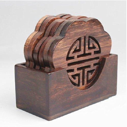 Moyishi Black Handmade Chinese Plum Flower Carving Natural Wooden Flower Design Boaster Coaster Holder,set Of 6