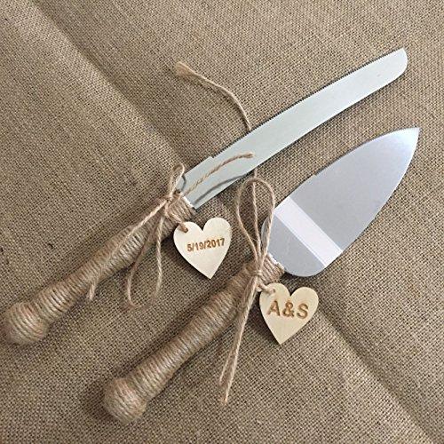 Rustic Wedding Cake Knife and Server Set Personalized Rustic Country Wedding Cake Server Set Custom Wedding Decor