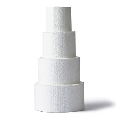 Cake Dummy 4-Piece Round Mini Foam Fake Cake Set 3 4 5 6 Inches Smooth Polystyrene Foam