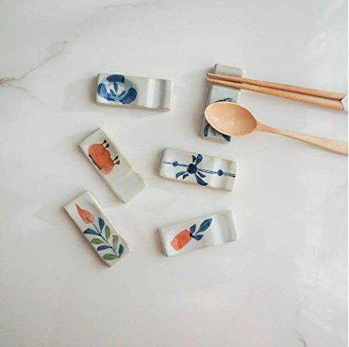 Astra Gourmet Set of 6 Ceramics Chopsticks Spoon Rests Chopsticks Spoon Forks Rest HolderAssorted Pattern