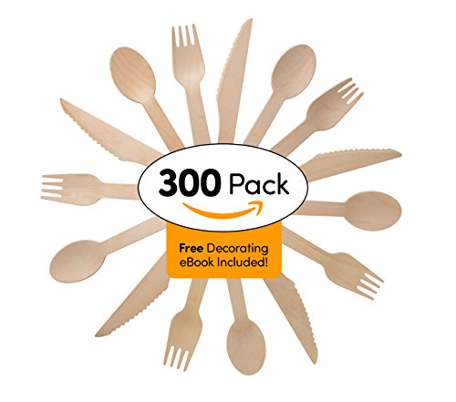 Disposable Wooden Cutlery Set - 300 Pieces 100 Spoons 100 Forks 100 Knives  For Parties Camping Picnics Weddings BBQ Birthdays Beach  Eco Friendly Biodegradable Compostable Utensils Combo Pack