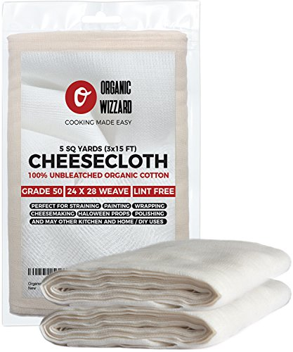 Cheesecloth - Organic Unbleached Cotton Fabric - Grade 50 Ultra Fine Mesh 45 Sq Feet 5 yards of 100 Natural Washable and Reusable Food FilterStrainer