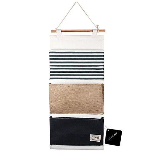 xhorizon TM FL1 LinenCotton Fabric 3 Pockets Wall Door Closet Hanging Storage Bag Organizer Blue
