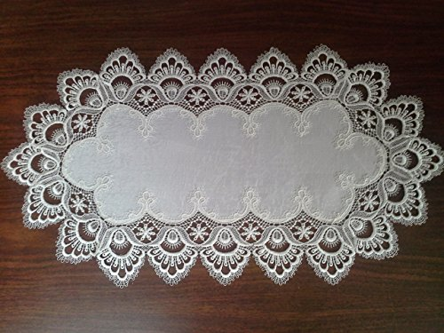 Table Runner in Antique White with European Lace and Fabric Size 70 x 15 inches