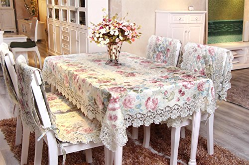 homando Floral Lace Tablecloth with Printed Jacquard Fabric Elegant Tablecover Light Green Color Square 51x51inches130x130cm