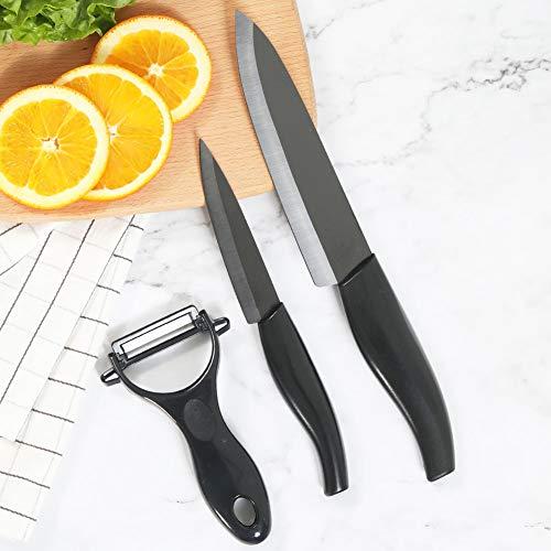 Kitchen Academy Ceramic Knife Set 3-Piece Includes 6-inch Chefs Knife 4-inch Paring Knife 1 Peeler Ultra Sharp Kitchen Cutlery Knife SetBlack