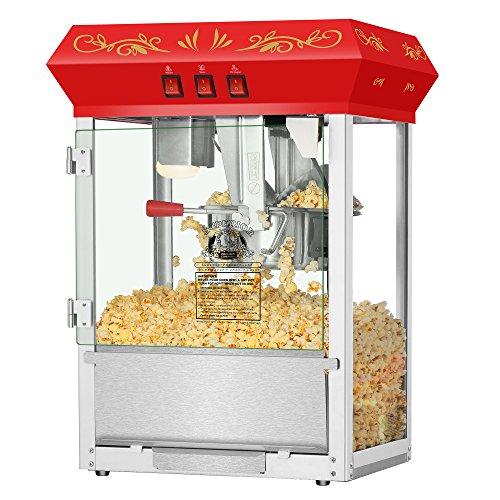 Superior Popcorn Red Countertop Movie Night Popcorn Popper Machine, 8 Ounce