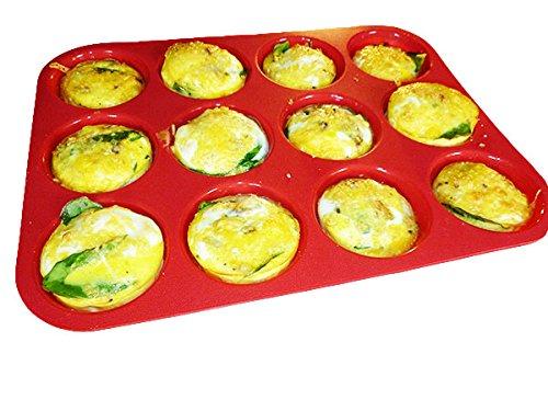 Keliwa 12 Cup Silicone Muffin & Cupcake Baking Pan / Non - Stick / Dishwasher - Microwave Safe /  21 Free Recipes