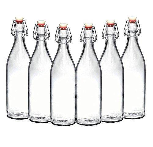 Set of 6 - 3375 Oz Giara Glass Bottle with Stopper Swing Top Bottles for Oil Vinegar Beverages Beer Water Kombucha Kefir Soda By California Home Goods