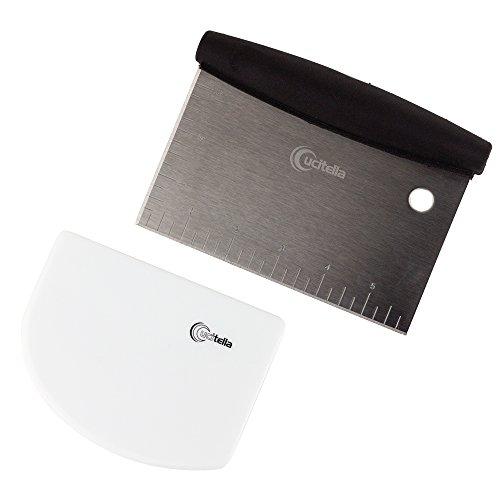 Cucitella Dough Bowl Scraper Bundle Stainless Steel Pastry Cutter Flexible Plastic Bowl Scraper Nontoxic Dishwasher Safe