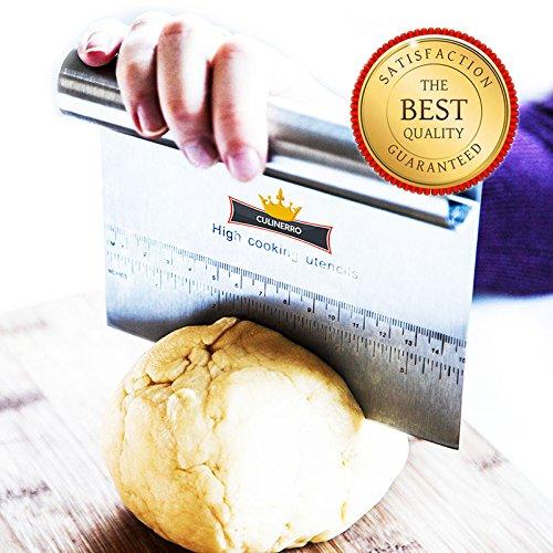Culinerro – Pastry Scraper&Cutter – Pizza Dough Cutter and Chopper  Made of Stainless Steel