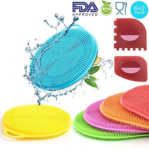 IYOOH Silicone Dish Sponges Multipurpose Washing Dish Scrubber Kitchen Cleaning Brush Mildew-Free Rubber Dishwashing Sponge Non-Scratch Scouring Pads Additional Plastic PanGrill Scraper Set