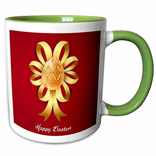 3dRose Dooni Designs Easter Designs - Lovely Ornate Golden Decorated Easter Egg and Ribbon Graphic - 11oz Two-Tone Green Mug mug_104599_7