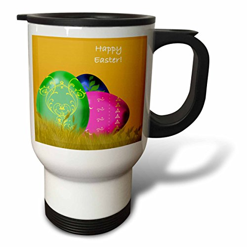 777images Designs Graphic Designs Holidays - Large decorated Easter eggs in golden grass and Happy Easter - 14oz Stainless Steel Travel Mug tm_44027_1