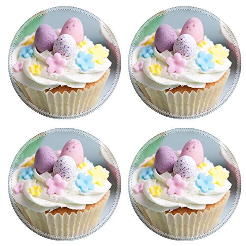 Liili Natural Rubber Round Coasters IMAGE ID 32099913 Easter cupcakes decorated with eggs and flowers