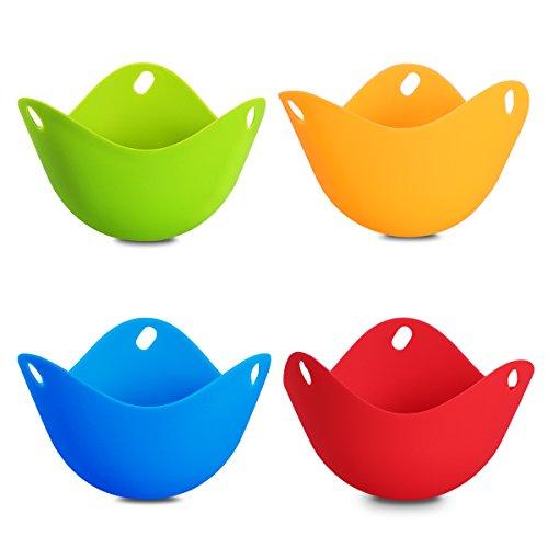 OUNONA 4pcs Egg Poacher - Silicone Egg Steamer Egg Poaching Cookware Cups(Assorted Colors)