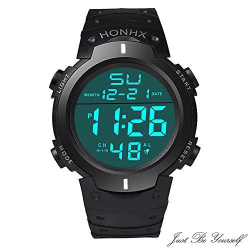 Qvwanle Mens Watch Fashion Waterproof Boy LCD Digital Stopwatch Date Rubber Sport Wrist Watch for Gift Blue