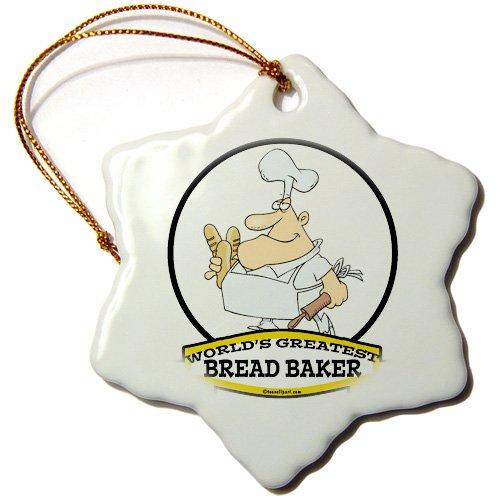 3dRose orn_102987_1 Funny Worlds Greatest Bread Baker Cartoon-Snowflake Ornament 3-Inch Porcelain