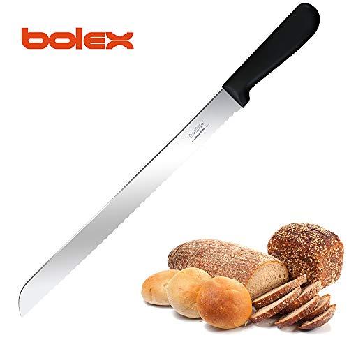 BOLEX 12 Inch Serrated Bread Knife Stainless Steel Wide Wavy Edge Knife Cake Slicer Multi-Purpose Kitchen Knife with Ergonomic Handle Ultra Sharp Bakers Knife for Cutting Crusty BreadsCakeBagel