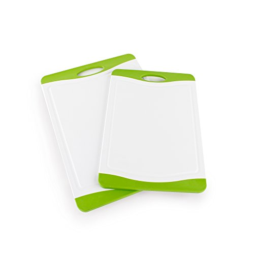 Neoflam 53104 2 Piece Poly Cutting Board Set with Microban Antimicrobial Protection WhiteGreen 17 x 12145 x 10