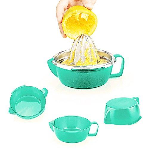 TAOGE Multicolor Stainless Steel Manual Juicer Squeezer Fruit Citrus Lemon Lime Orange with Bowl Juice Strainer Storage Base Lid Blue