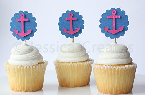 Cupcake Toppers - Anchor Cupcake Toppers - Nautical Cupcakes - 12 ct