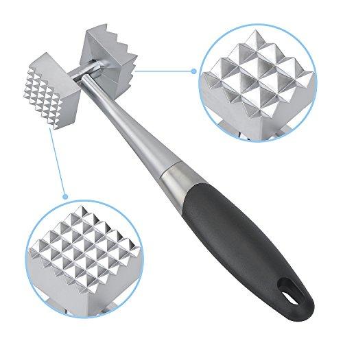 Zonkin Meat Tenderizer Mallet ToolKitchen Double Side Manual Hammer Pounder For Tenderizing Veal Chicken Pork&SteakNon-Slip Handle For Pounding