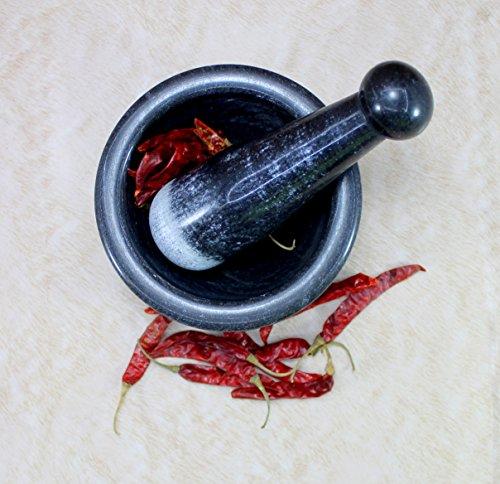 KLEO 5 Wide Black Natural Stone Mortar and Pestle Set as Spice Medicine Grinder