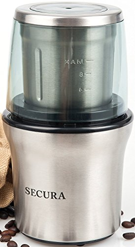 Secura Electric Coffee Grinder Spice Grinder with 2 Stainless-Steel Blades Removable Bowl 1-year warranty