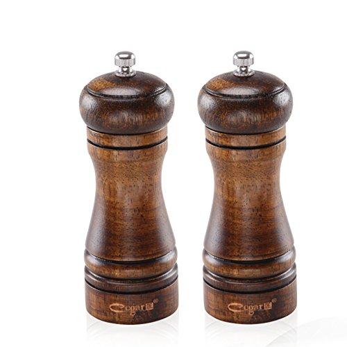 Spice Grinder Wooden Salt and Pepper Grinders Pepper Ceramic Salt Grinder and Mills with Adjustable ceramic grinding Core Oak Wood-5-inch 2 packed