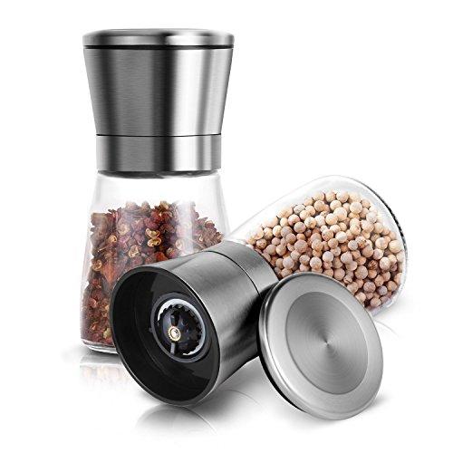 Update Salt and Pepper Shakers Set of 2 Salt Pepper Grinder Set Mill 6 Oz Glass Body 5 Grade Adjustable Ceramic Spice Crusher