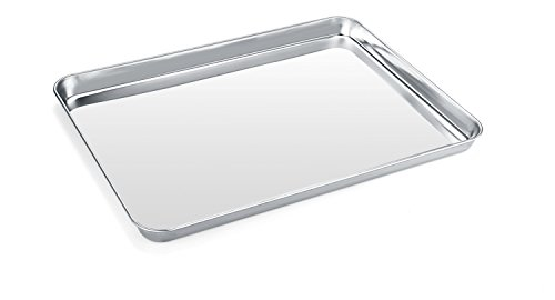 Baking Sheet Zacfton Stainless Steel Cookie sheet Toaster Oven Tray Pan Rectangle Size 16 x 12 x 1 inch Non Toxic HealthySuperior Mirror Finish Easy Clean Dishwasher Safe