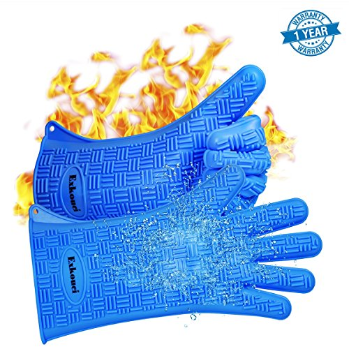 BBQ Gloves Super Heat Resistant Silicone Grill Gloves with 135 Sleeves for Extra Forearm Protection Waterproof Non-Slip Oven Mitts Perfect for Cooking Baking and Grilling