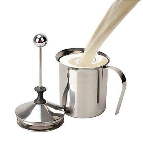Yosoo 400ml Stainless Steel Double Mesh Milk Frother Foamer Milk Creamer Milk Pump Cappuccino Coffee Foam Pitcher