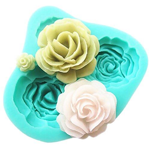 Pard 4 Size Roses Flower Silicone Cake Mold Chocolate Sugarcraft Decorating Fondant Fimo Tool Blue