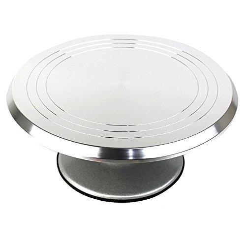 Do4U Aluminium Alloy Cake Turntable Rotating 12 Inch Heavy Duty Revolving Cake Decorating Stand with Non-Slip Rubber Bottom Aluminium Alloy